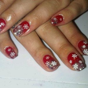 xmas nails wild fire, silver glitter fade and snowflake nail stickers and crystals!