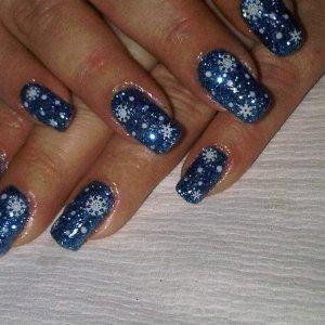 blue rockstar and snowflakes