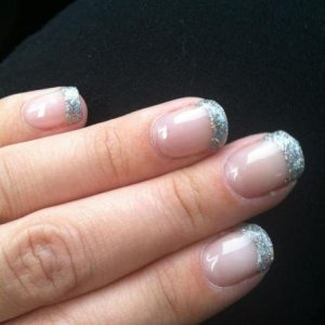 Negligee with silver glitter tips