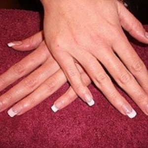 CND pure white over performance tips with pure pink on nail bed