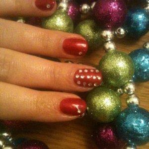 Shellac Red Baroness and Swarovski crystals