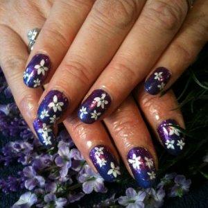 Purple Purple Shellac, purple glitter, Konad stamping and crystals