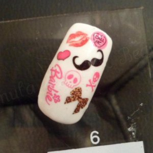 Some funky nail decals I have including; Barbie, Moustache, Leopard Bows, Love Heart Sweetie, Lips, Skulls and Hearts!