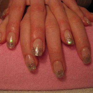 Clear sculpted tips with glitter