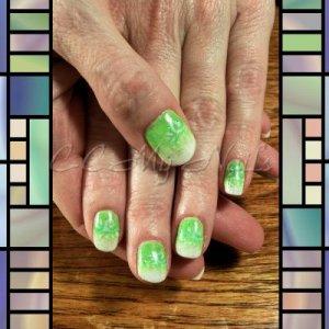 Gelish Neon Green, Sleek White, Waterfield