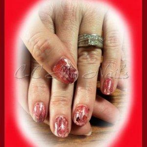 Marbled Gelish Rose Garden, Red Roses, Gossip Girl, Pink Smoothie & Confetti