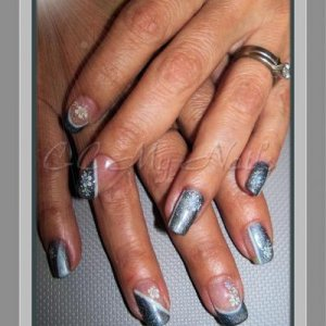 Gelish Midnight Caller,Sleek White, Vegas Nights & Decals  (yes, her nails are natural)