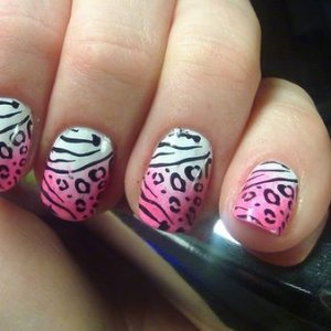 Base OPI Snow White Pink - Konad Special Nail Polish Psyche Pink - with makeup sponge :) And Konad nail plate - M78 with Konad Special Nail Polish Black