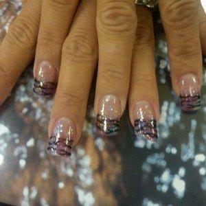 Acrylic & Mani-Q glitter and tiger stripes