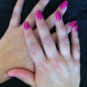 Chrome pink minx over acrylics