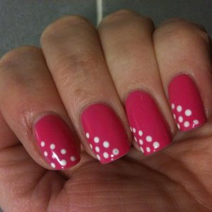 Shellac Hot Pop Pink with Cream Puff dots.  These are 8 days old now...must remember to take a pic after I have done them!