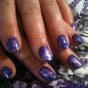 Shellac Purple Purple and purple foil.