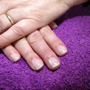 Natural Tip & Overlay with NSI Purely Pink Powder.