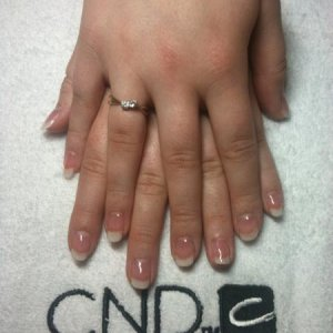 Kayleigh - Shellac Clearly Pink with Studio White.  Rated as B - more practice required!
