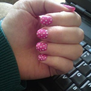 cream puff and hot pop pink spots