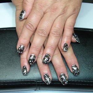 2nd Minx application.  Black Silver Cheeta over CND L&P sculpted enhancements.