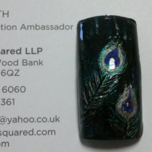 Peacock, CND Colour for background oilslick sponged on and feather in Shellac, purple purple, hotski, iced coral and iced cappuccino.