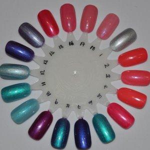 My colours so far :) 1. Silver Chrome, 2. Tropix,  3. Tropix+Negligee,  4. CreamPuff+Tropix, 5. CreamPuff+HotChillis, 6. CreamPuff+Hotski2Tchotchki,  7. CreamPuff+PurplePurple,  8. Purple+Hotski',  9. Purple+HotChillis,  10. Hotski+Negligee,  11. Hotski2Trotski,  12. Hotski+Chrome,  13. Purplepurple,  14. Purple+Chrome,  15. HotChillis,  16. HotChillis+Rosebud,  17. Rosebud, 18. Rosebud+Negligee