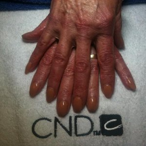 Shellac Cocoa on my lovely Mum.  She is too brown to take this colour and so will be re-doing soon.