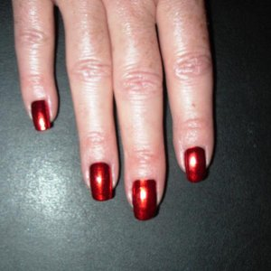 Red lightning on my own right hand. 3rd application of Minx.