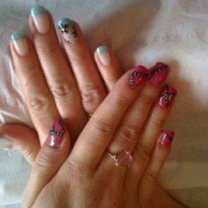 pink belt and blue glitter tips
