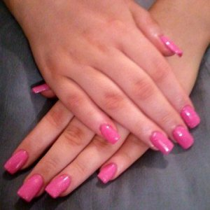 Shellac Hot Pop Pink with Mother of Pearl over CND L&P