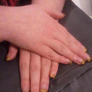 Gold Glitter Tip Sculpted Acrylics