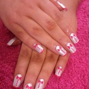 """Scultped acrylics with hand painted """"tuxedo"""" nail art"""