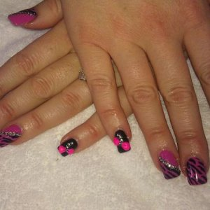 1st hot pop oink shellac zebra, bows and crystal design
