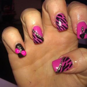 hot pop pink, with zebra and crystals and hand scultpted bows