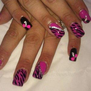 2nd lady with hot pop pink zebra design