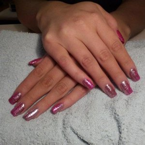 GHG over natural tips with Gelish Gossip girl and silver and pink glitter