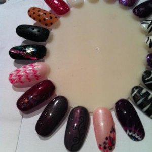 Some designs done in my Shellac Styles class