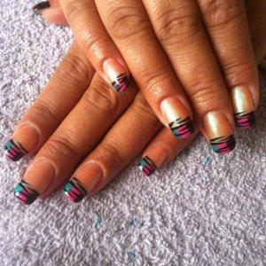 Rainbow zebra, free hand nail art on shellac