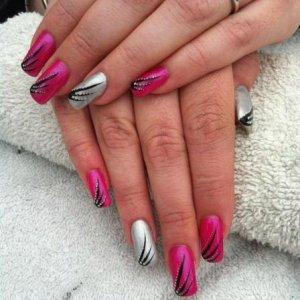 Free hand nail art, shellac