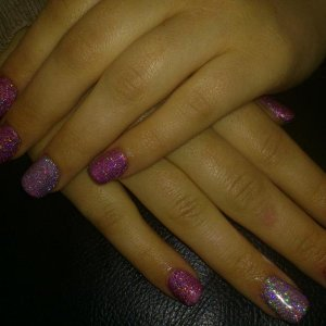 Full set of acrylics with rockstar shellac over
