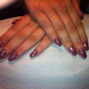 gelish pink smoothie + pink glitter