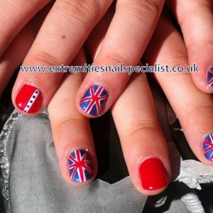 Fun Diamond Jubilee Shellac. Playing around so I have something for Jubilee time! My union jacks need attention but I am pretty pleased with the idea.