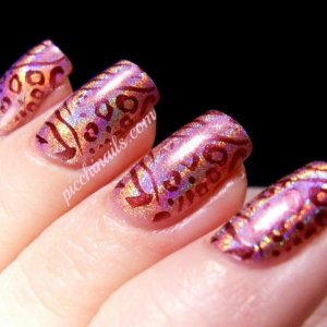 Layla Hologram #03 Retro Pink stamped with China Glaze Joy, m78 2