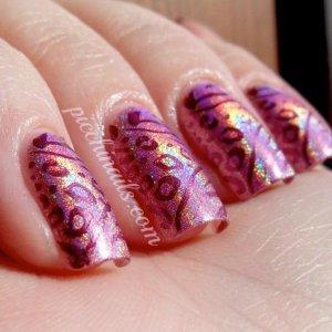 Layla Hologram #03 Retro Pink stamped with China Glaze Joy, m78