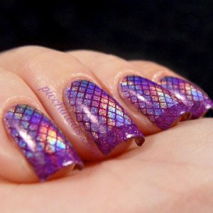 Layla Hologram #04 Ultra Violet stamped with Color Club Wild at Heart, m19 + m57  1