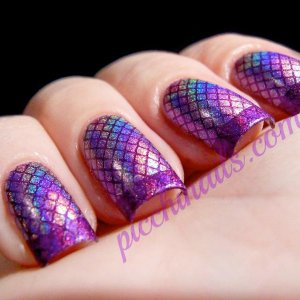 Layla Hologram #04 Ultra Violet stamped with Color Club Wild at Heart, m19 + m57  3