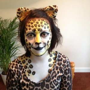 A cheetah paint for Jessica's fancy dress party! So nice to get paints out and paint an adult lol