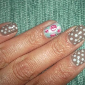 My take on Cath Kidston Nails using Shellac and Acrylic paints