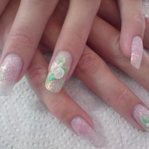 Laura wedding nails  french quarter & cocktail time fade with 3d roses