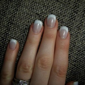 Natalie: My own nails I created myself l&p tip & overlay, white and a cool custom blended pink