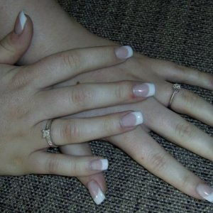Christine: l&p, cool opaque pink&white, tip&overlay