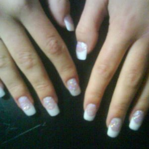 Pink and whites with glitter