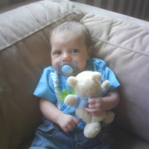 My baby Boy Hayden with his fav teddy (8 weeks old here)