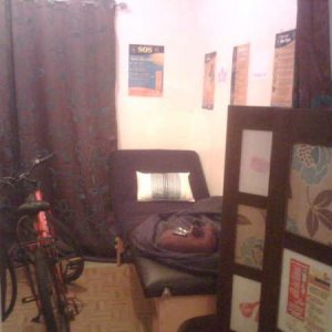beauty room re jigged. The bike is only temporary as one of the stylists couldn't bear to ride it home. On the bed is my folded tanning tent as I need it for the morning. Tight squeeze but the bed this way means I don't have to keep putting my couch up and down :)